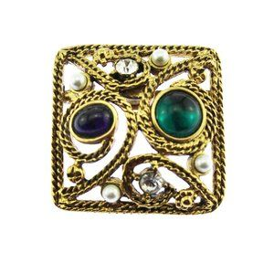 Large Gold and Green Rhinestone Brooch